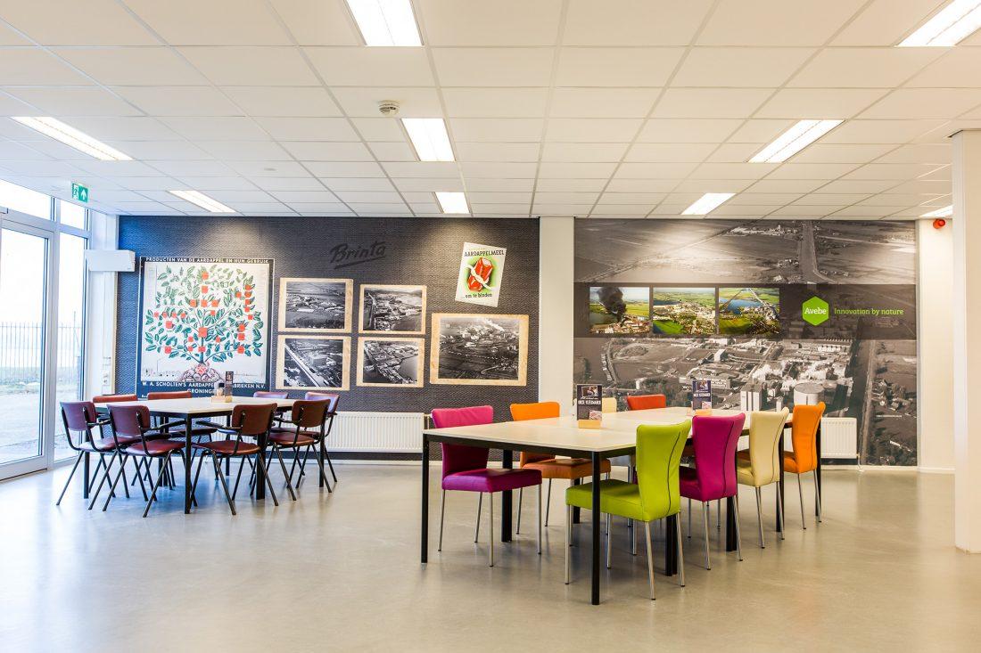 Fotowand_fotobehang_Avebe_Foxhol_kantine_historie_belettering_reclame_Groningen